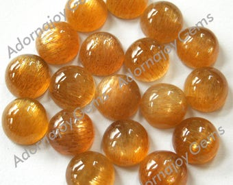 Gemstone Cabochon Golden Moonstone 6mm Round FOR TWO