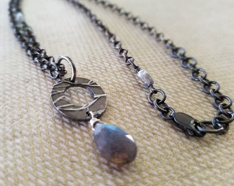 Labradorite Necklace Sterling Silver Fine Silver