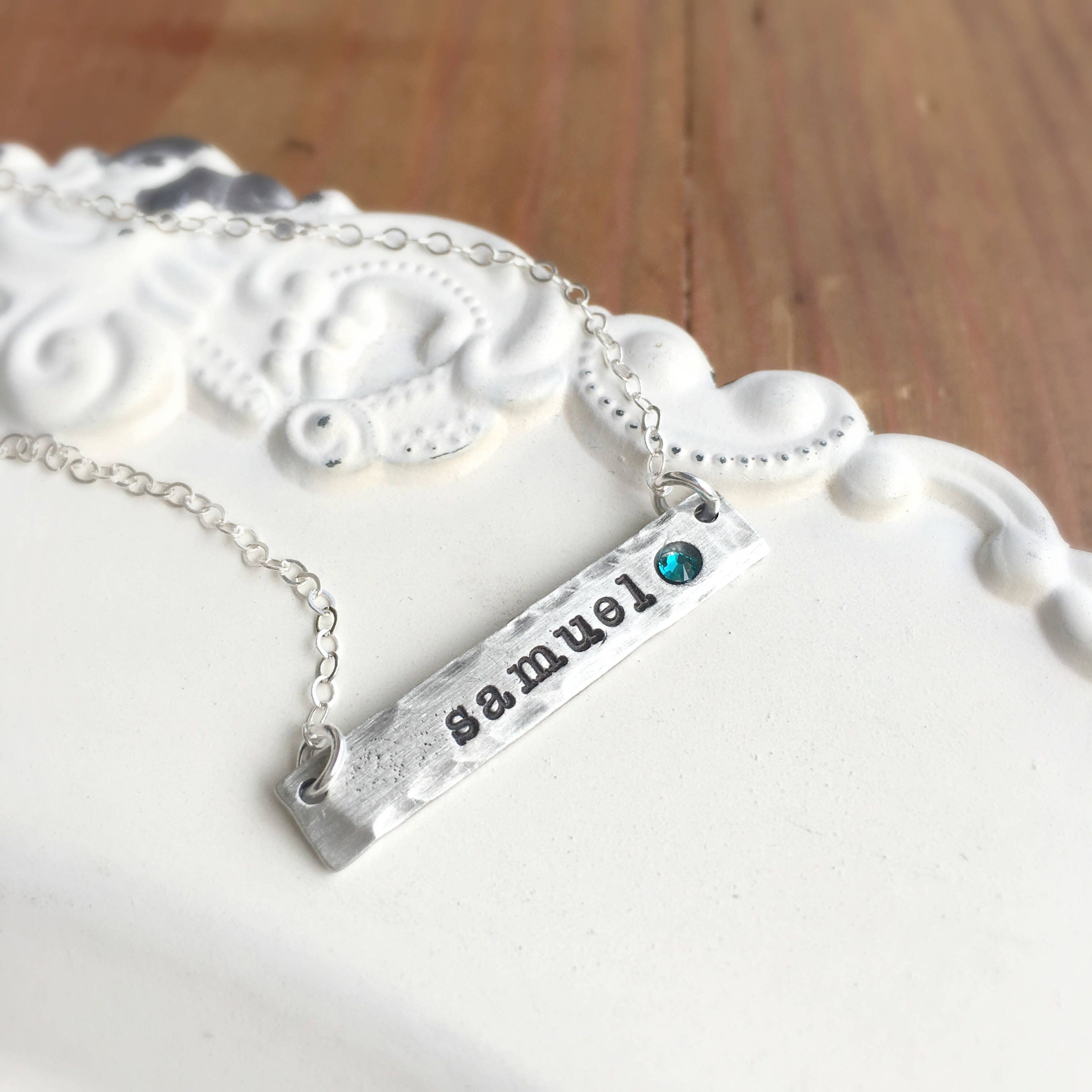 Moonglow Youtube: Classic Birthstone Necklace In Pewter