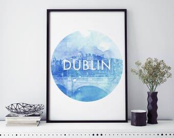 Dublin, Ireland Watercolour Print Wall Art | 4x6 5x7 A4 A3 A2