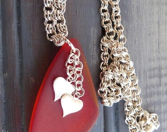 ON SALE Red Sea Glass Pendant -  Sea Glass Earrings - Free Earrings - Recycled Glass - Silver Heart Charms - Jewelry Set -  Beach Glass