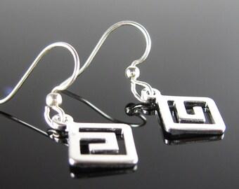 Greek key earrings, nickel free, surgical stainless steel, small earrings, simple silver earring, petite dangle earrings, short drop