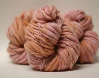 Thick and Thin Yarn Bulky Hand Spun Wool Slub  Hand Dyed ttS(tm) Chamois