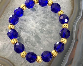 Gorgeous Glass Blue and Gold  Bracelet