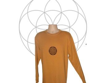 Organic shirts for men - Hand dyed and printed- Flower of LIfe print uwyK5Wi