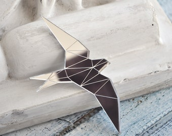 Swallow brooch - bird brooch pin, mirror silver swallow pin brooch, mirror bird pin brooch, mirror perspex brooch swallow - ready to ship