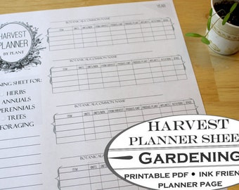 Harvest Planner Worksheet - Printable Garden Planner Page for Garden Journals