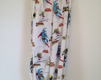 vintage comic bedsheet, vintage twin sheet, wonder woman, batman, robin, superman