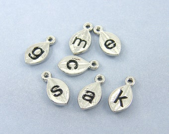 Alphabet Letter Initial Charm Pendant for Personalized Bridal Jewelry Necklaces Earrings Shiny Silver Set of 4 6 or 8 |LL2