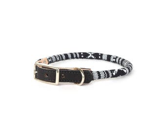 Cat Collar or Small Dog Collar - Black & White
