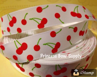 """1 yard - 7/8"""" cherry cherries Rockabilly Valentine's day white fruit 50's grosgrain ribbon by the yard for bow boutique BTY trim party"""
