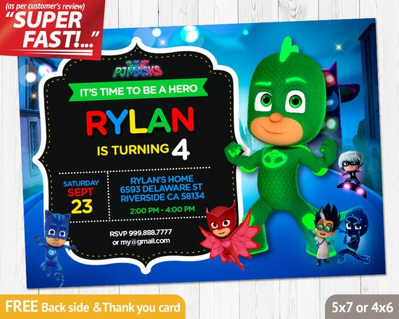 PJ Masks Invitation PRINTABLE Pj Birthday