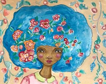 Flowers in Her Hair, original painting