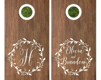Cornhole Decals | Custom Cornhole | Wedding Games | Monogram Cornhole Decals | Barn Wedding Decals