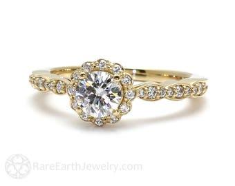 Moissanite Ring Conflict Free Engagement Ring Diamond Halo Forever One Moissanite Ring 14K or 18K Gold Handmade Engagement