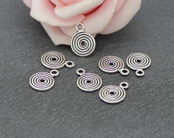 x 30 small spiral charms in antique silver 13 x 9 mm BR672