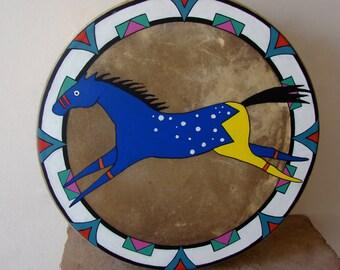 Handpainted Native American Elk Hide Hand Drum- Blue Appaloosa Horse