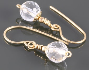 Faceted Crystal Quartz Earrings. Gold Filled Ear Wires. Genuine Gemstone. April Birthstone. Drop Earrings. f16e206