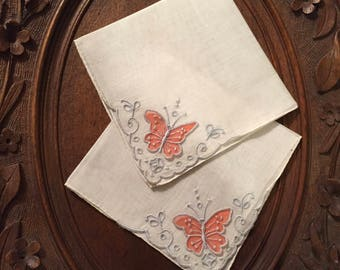 Vintage Hankies - Set of Two Sweet Tiny Hankies with Butterflies