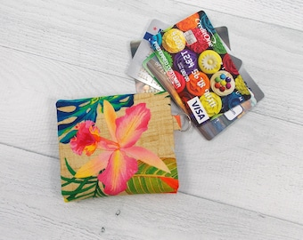 Credit Card Gift Card Wallet • Tropical Floral Print • Summer • Minimalist Wallet • Small Wallet • Whippersnapper • Choose Your Lining
