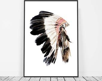 Boho Wall Art, Indian Headdress Print, Boho Decor, Tribal Art, Bohemian Decor, Native American Headdress Art, American Indian Art Print