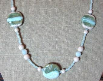 Pale Ocean Kazuri Bead Necklace - N068