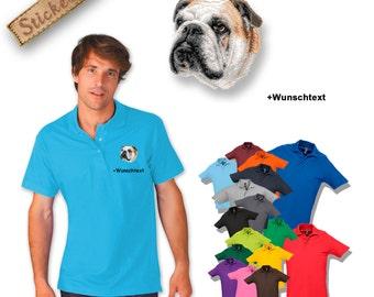 Polo shirt cotton embroidered embroidery dog ENGLISH BULLDOG + own words