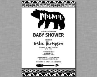 Mama Bear Baby Shower Invitation gender neutral BF21 Digital or Printed