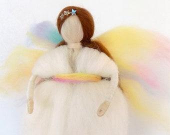 Needle felted Waldorf Wool angel fairy / Wool needle felted  fairy / baby mobile decor /  Nursery Decor / Housewarming gift