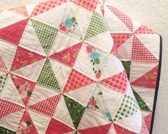 Baby Girl Quilt, Modern Baby Quilt, Crib Quilt, Baby Girl Bedding, Handmade Quilt for Sale, Homemade Quilt, Modern Quilt, Quilt on Sale
