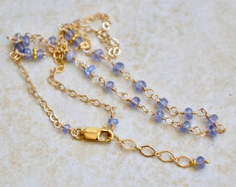 Single Strand Iolite Necklace Gold Filled Birthstone Jewelry