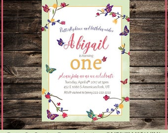 Butterfly Garden Party Birthday Invitation