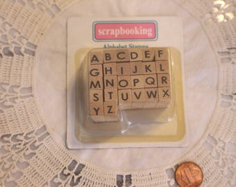 Alphabet Stamps for Scrapbooking or Card Making Altered Art 26 Mini Stamps