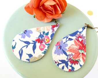 Floral Leather Earrings in Wild Flower //Mini Teardrop Floral Leather Earrings