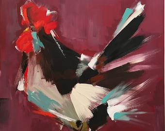 Original Rooster Painting on a Wood Panel Farm Chicken Art