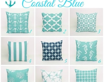 "SALE Coastal Blue and White Throw Pillow Cover PAIR - Pick 2 cover available in 16"" 18"" or 20"" in Premier Prints Cotton Slub Fabric"