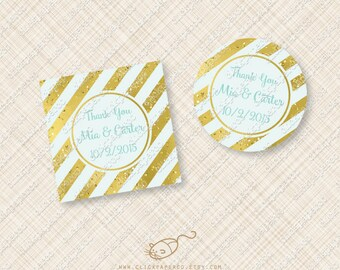 Aqua Blue Stripe Printable Favor Tag Gold foil glitter effect confetti cupcake topper stripes teal editable text instant download treat pdf