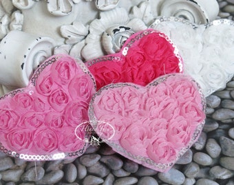 ValenTine's Day - Set of 8 Beautiful Shabby Chic Chiffon Rose HEART Appliques with Sequins Edges 2.75 inches