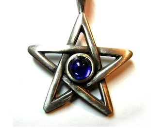 5-pointed star with red rhinestone pendant