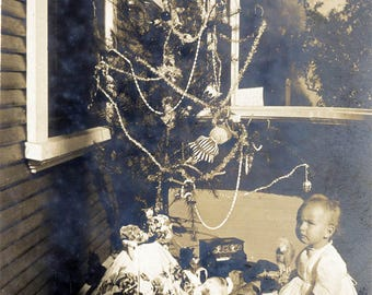vintage photo 1908 Baby Sits on Porch Xmas Tree Toys Doll