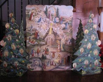 1950'S Glitter, W. German Christmas Advent Calendar, Fold Out Tree's