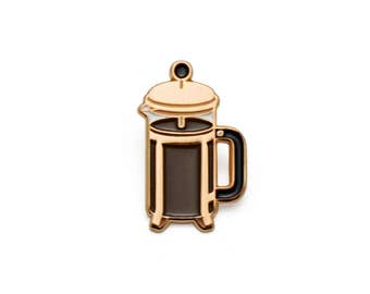 Coffee Press Enamel Pin (Rose Gold)
