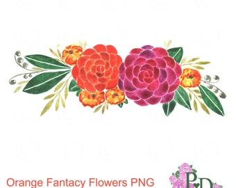 Watercolor Clipart Orange Flowers Clip Art Floral Design PNG File Digital