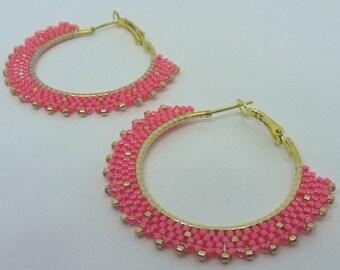 Hoop earrings pink and gold earrings