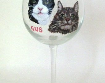 Mothers Day Gift, Custom Pet Portrait Paintings, Cat Wine Glass, Personalized Pet, Cat Art, Pet Loss Memorial, Petzoup, Cat Painting
