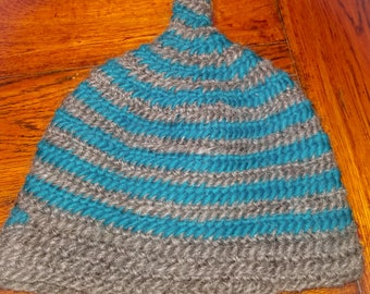 Nalbound Hat - Turquoise and Gray Stripe