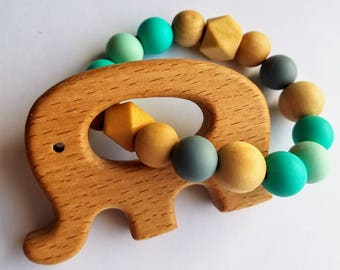 Elephant Wooden and Silicone Baby Teether Toy