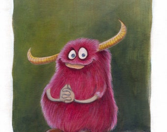 Pink furry Monster / original acrylic painting