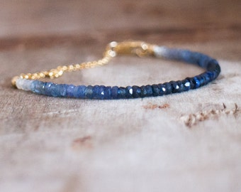 Blue Sapphire Bracelet, Gift for Her, Gift for Mom, Beaded Bracelet, Ombre Gemstone Bracelet, Genuine Sapphire Jewelry, September Birthstone