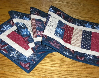 Quilted Table Runner, Patriotic Runner,  Stacked Coins Runner, Quilted Americana Runner, 12 x 42 inches